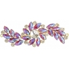 Crystal Motifs Fancy Swirl 10.5x4cm Fuchsia Aurora Borealis/gold